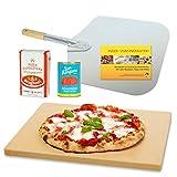 Vesuvo V38301 Pizzastein- / Brotbackbackstein Set für Backofen und Grill / eckig / 38x33 cm / mit Pizzaschaufel und Pizzamehl