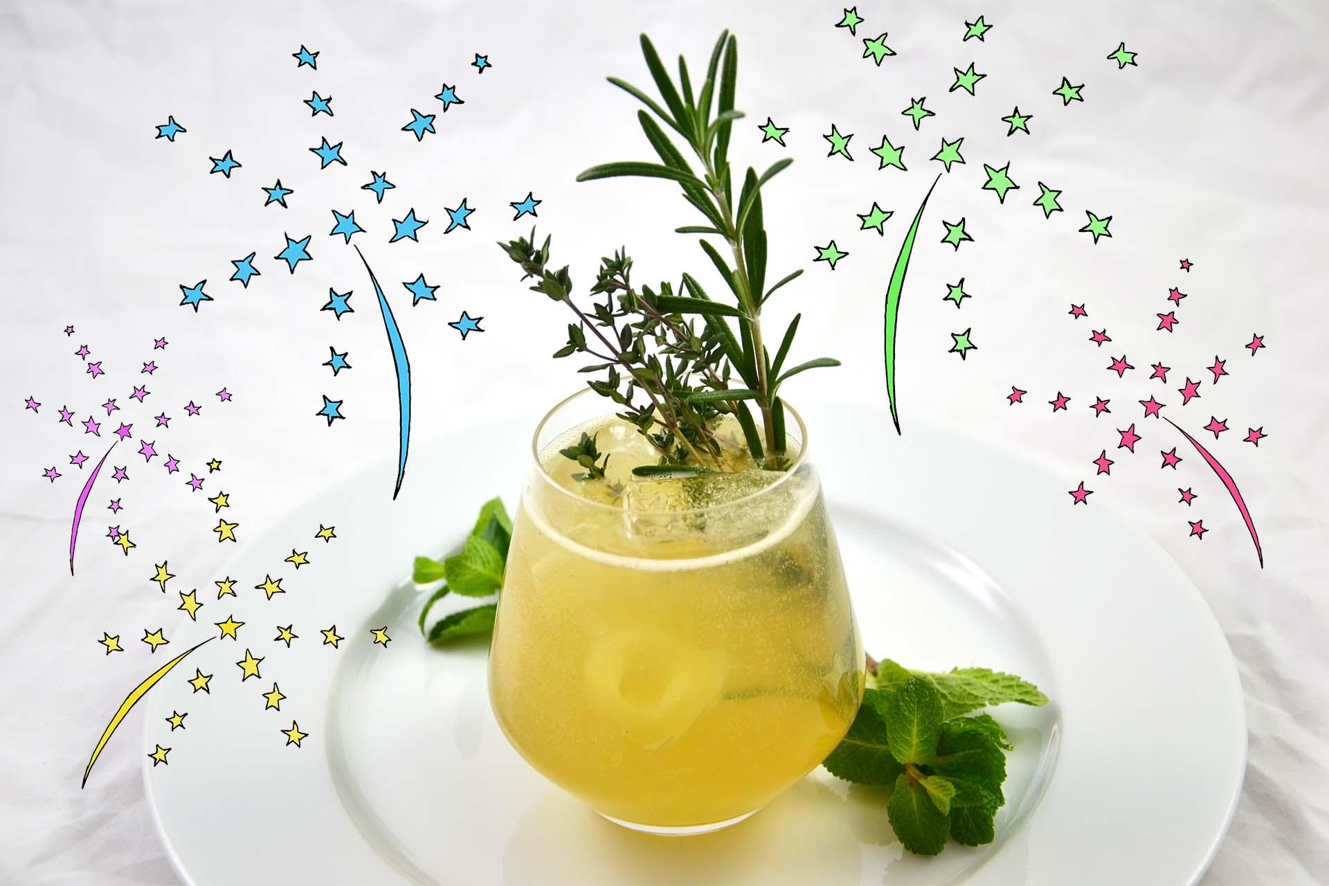 Glas Gin mit Kräutern