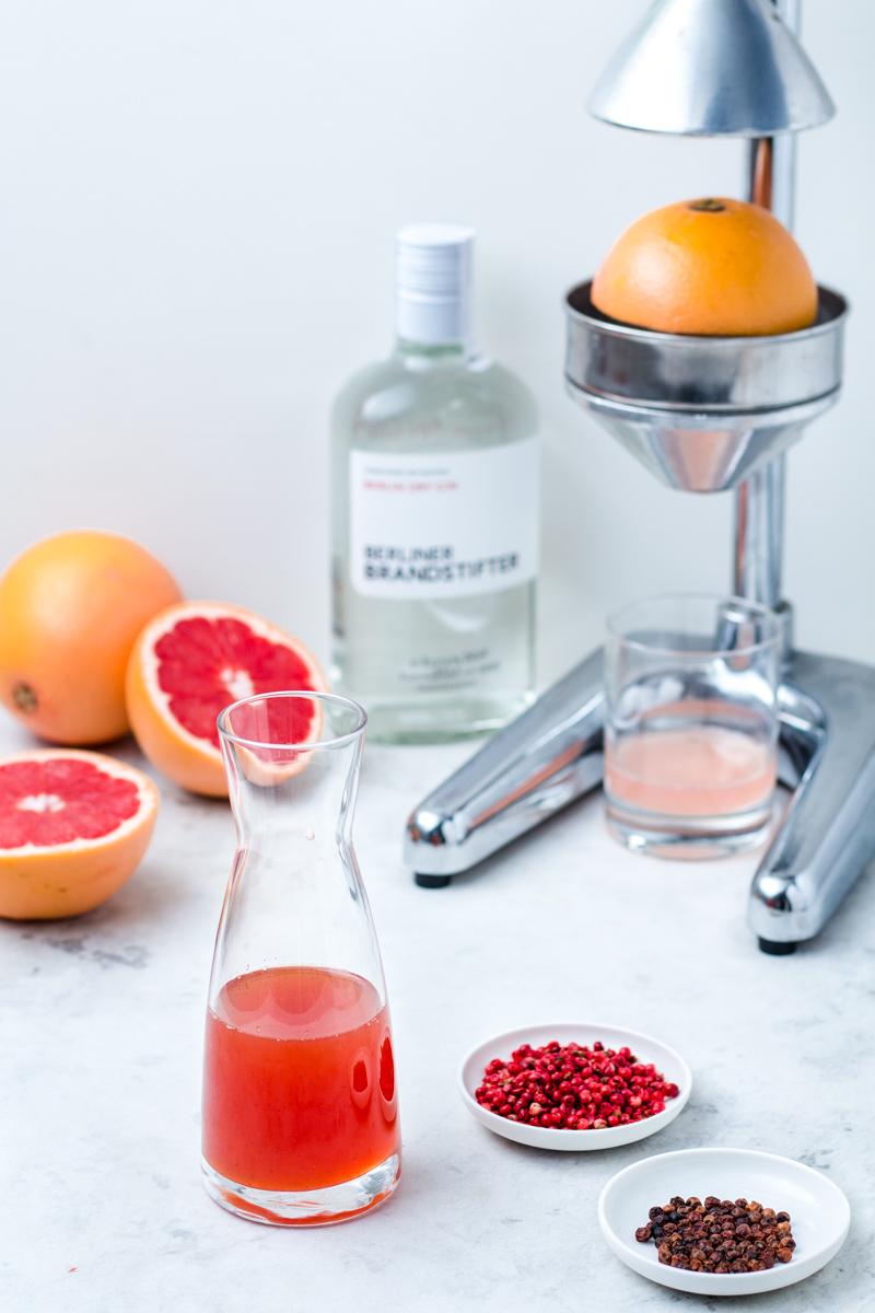 Aromatischer, leicht scharfer Pink Grapefruit-Pfeffer Sirup