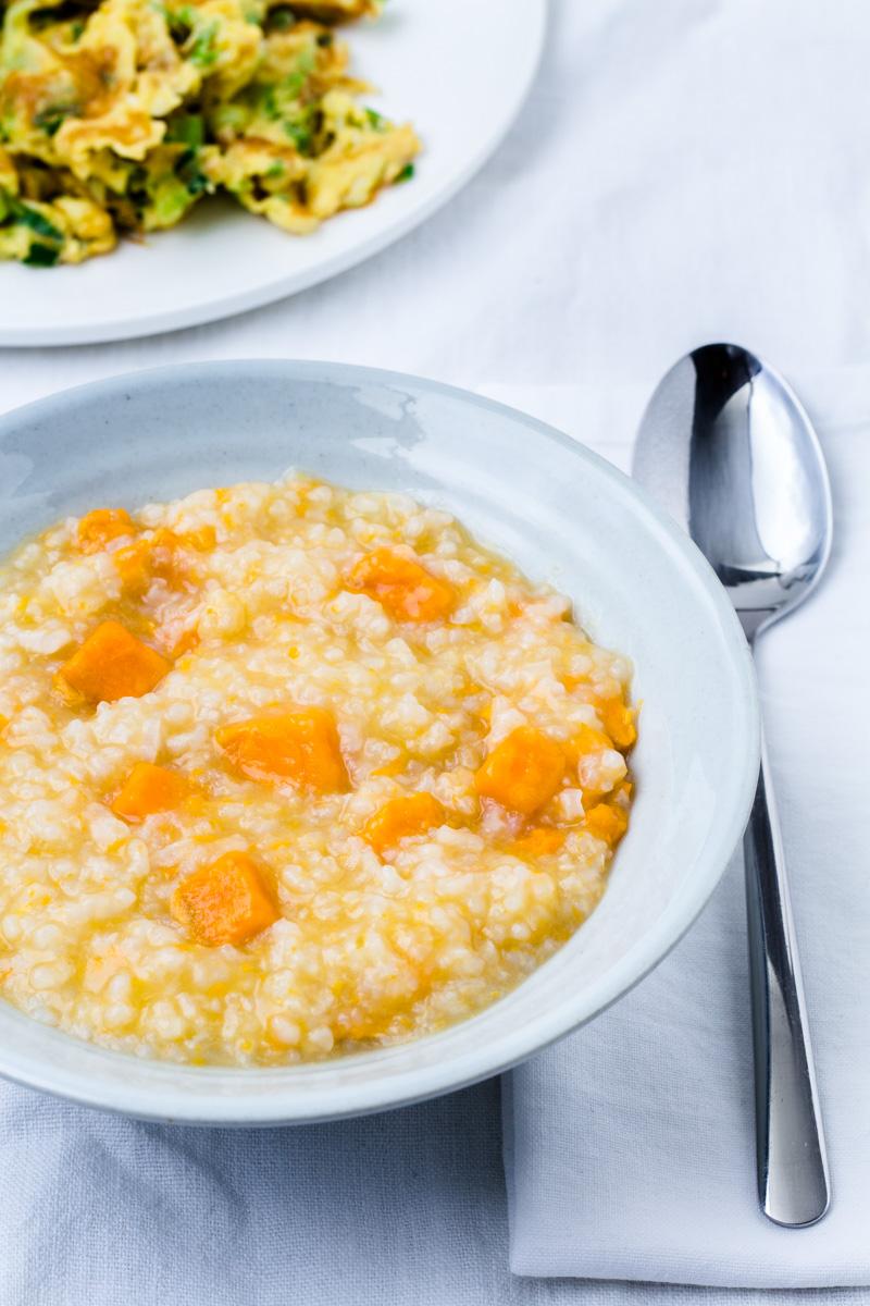 Suesskartoffel-Reis-Congee