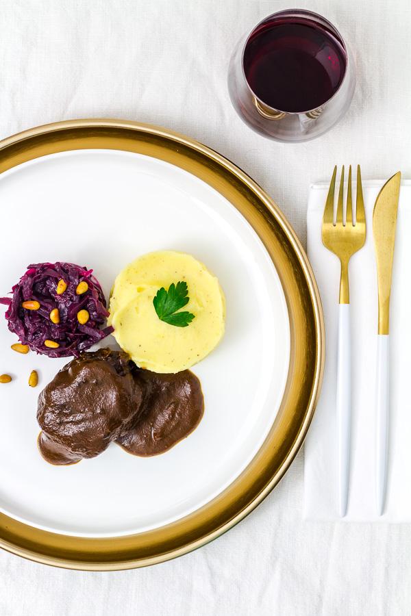 Rinderbäckchen | Cranberry-Rotkohl | Kartoffelpüree