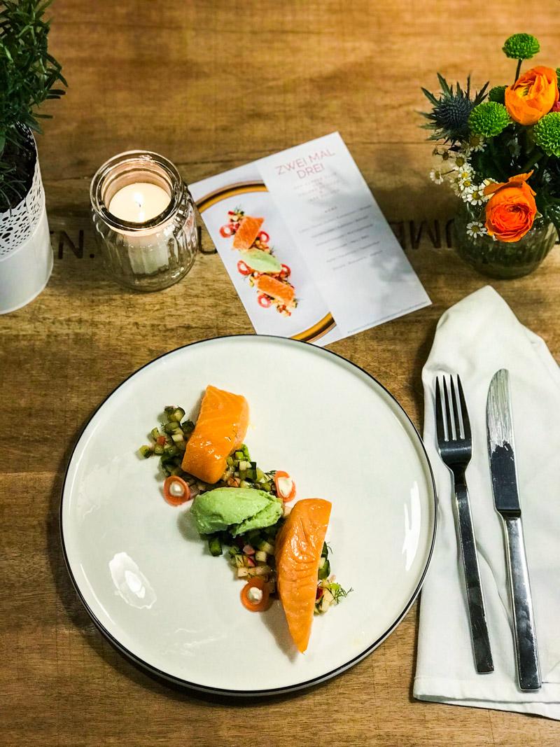 1. Vorspeise - Lachs | Gurke | Apfel | Radieschen | Wasabi