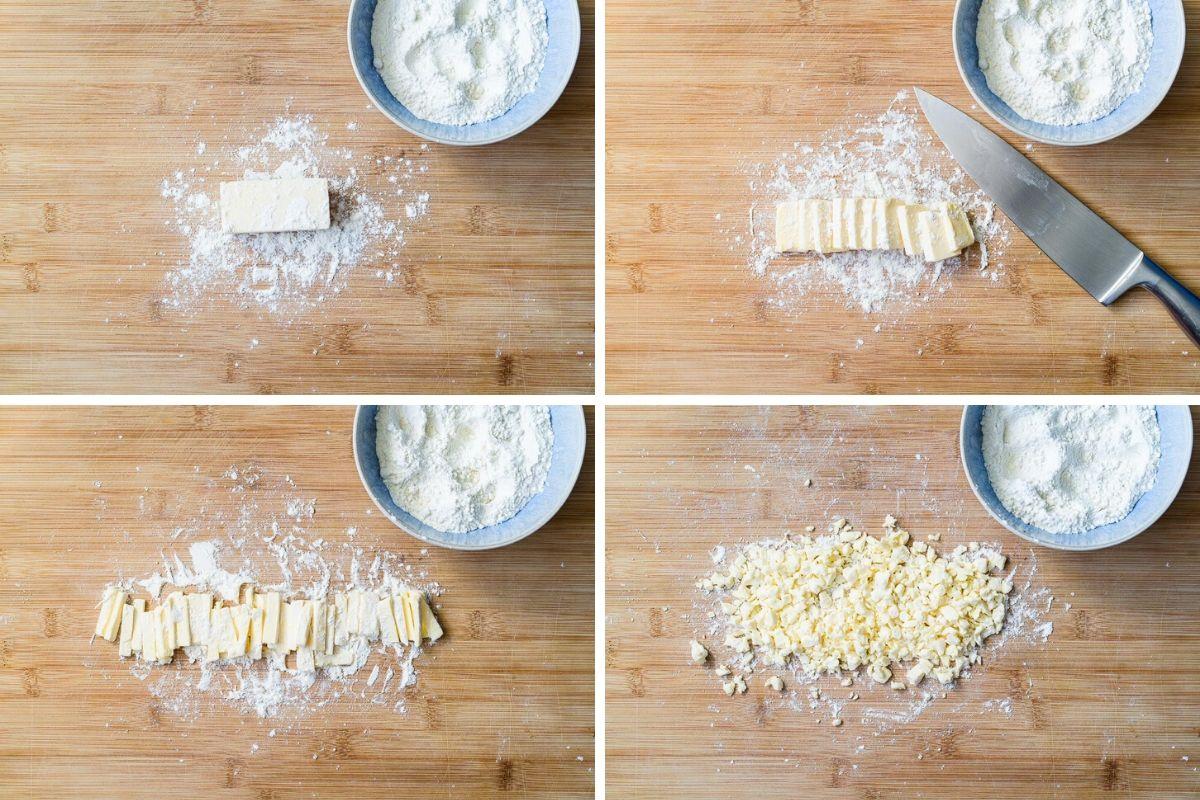 Butter mit Mehl kleinschneiden