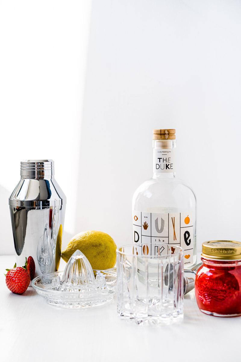 Zutaten für Erdbeer-Gin Sour