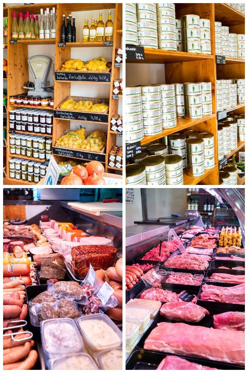 Wurst- und Fleischwaren, Gemüse und regionale Spezialitäten im Hofladen von Hofgut Acker