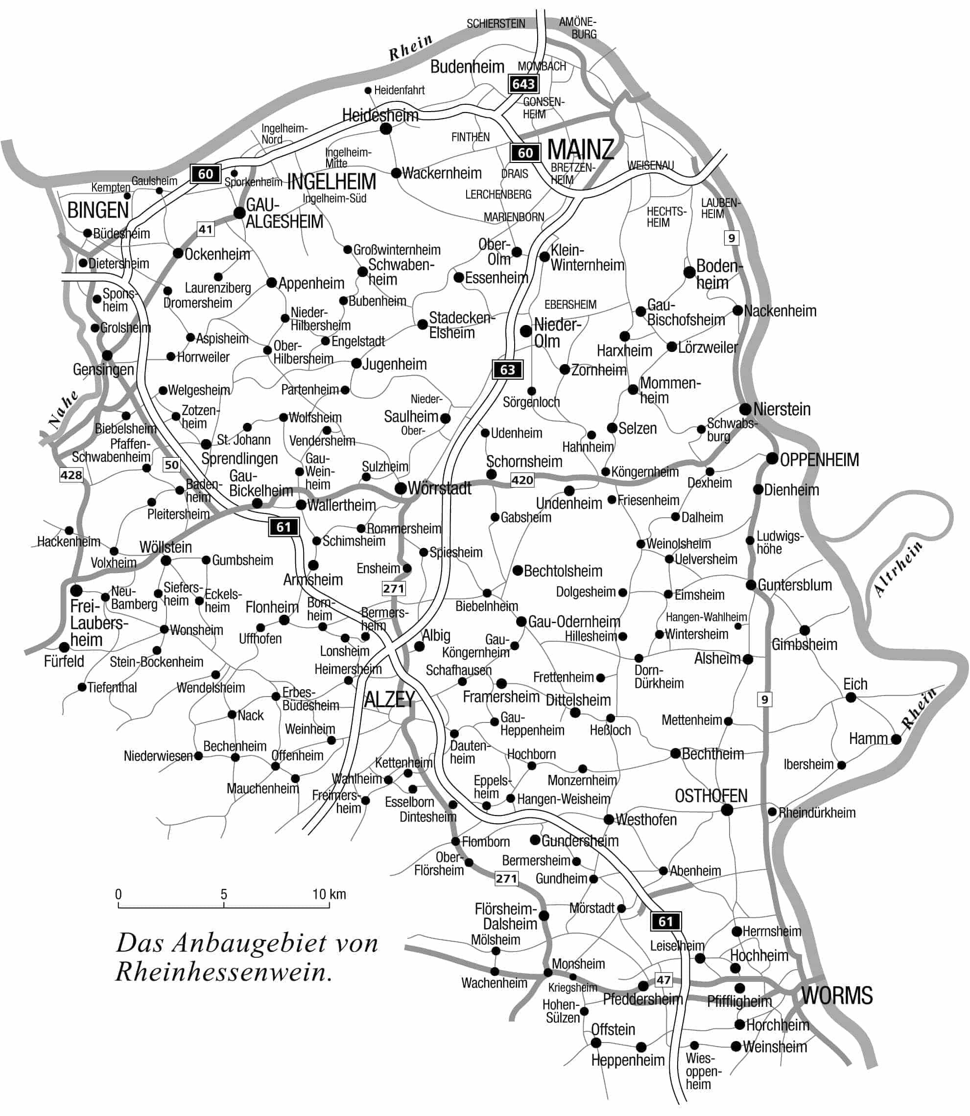 Landkarte von Rheinhessen